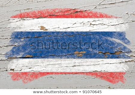 Flag Of Thailand On Grunge Wooden Texture Painted With Chalk Foto stock © vepar5