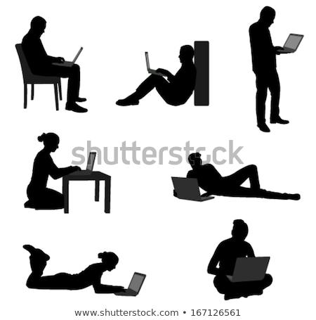 シルエット 男 女性 座って ビジネス ストックフォト © nebojsa78