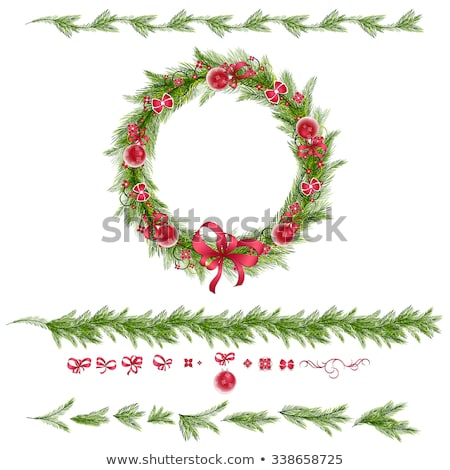 red bow with pine border stock photo © lightsource
