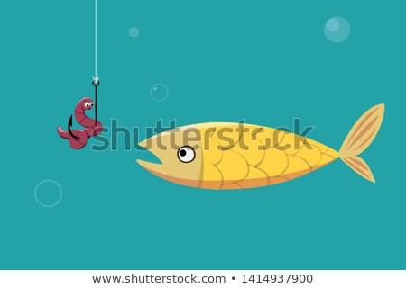 peixe · verme · pescaria · gancho · água · mar - foto stock © anna_tseliuba