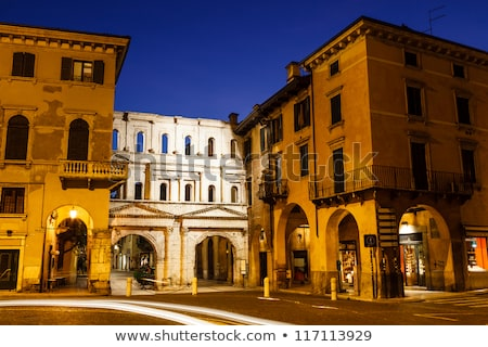 Ancient Roman Porta Borsari Gate in Verona at Night, Veneto, Ita Stock photo © anshar