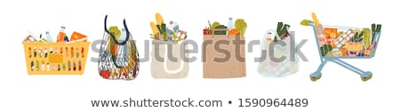 cartoon · panier · heureux · argent · magasin · souriant - photo stock © jorgenmac