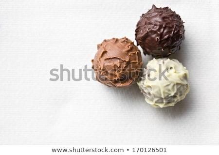 çikolata beyaz masa örtüsü üst görmek grup Stok fotoğraf © jirkaejc
