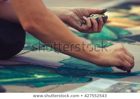 calçada · artista · novo · peça · mãos - foto stock © reicaden