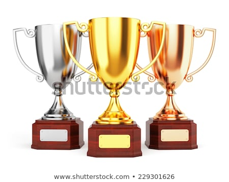 Soccer Background with Three Award Trophy Stock photo © WaD