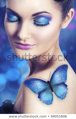 retrato · beleza · borboleta · mulher · maos · natureza - foto stock © nejron
