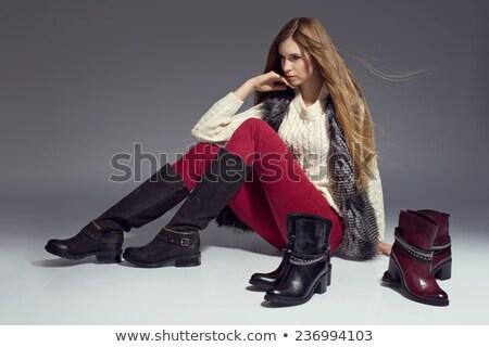 mulher · bota · isolado · branco · sexo - foto stock © 26kot