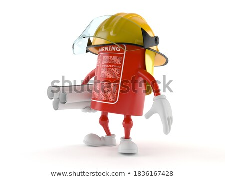 red helmet and project on white background isolated 3d image stock photo © iserg