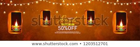 Diwali bloem kunst olie lamp geschenk Stockfoto © rioillustrator
