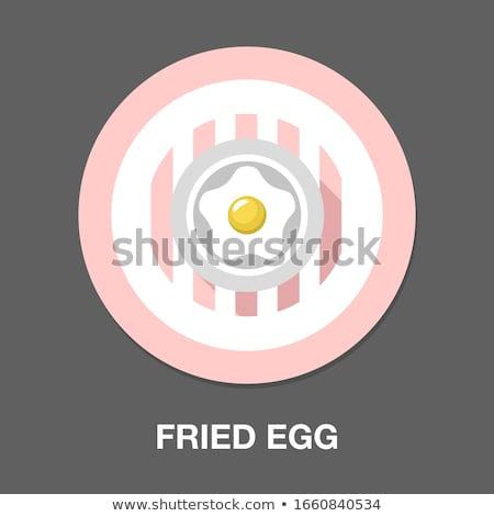 Sahanda yumurta yalıtılmış beyaz gıda boyama kahvaltı Stok fotoğraf © konturvid