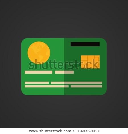 Creditcards groene vector icon knop internet Stockfoto © rizwanali3d