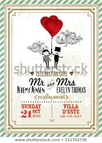 Wedding invitation border hearts Stock photo © Irisangel