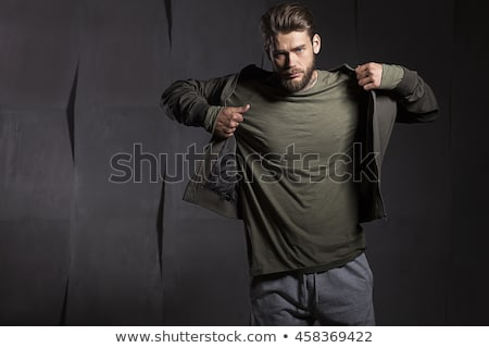 black tshirt and jacket on a white background stock photo © ozaiachin