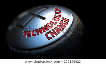 Technologisch vooruitgang zwarte versnelling Rood tekst Stockfoto © tashatuvango