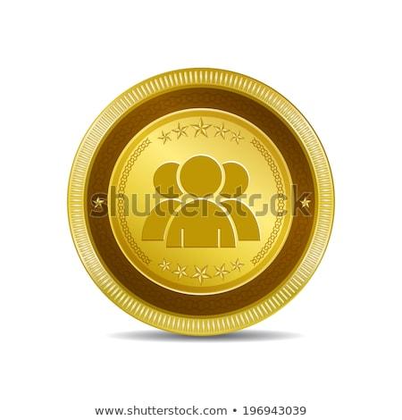 Felhasználó körkörös vektor arany webes ikon gomb Stock fotó © rizwanali3d