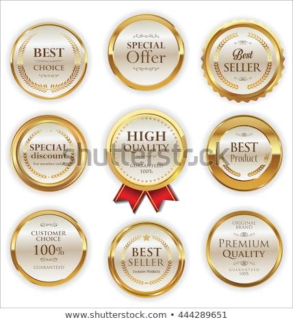 ouro · distintivo · satisfação · garantido · fita · vetor - foto stock © rizwanali3d