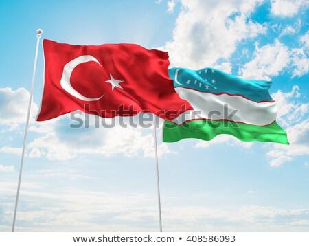 Turquia Uzbequistão bandeiras quebra-cabeça isolado branco Foto stock © Istanbul2009