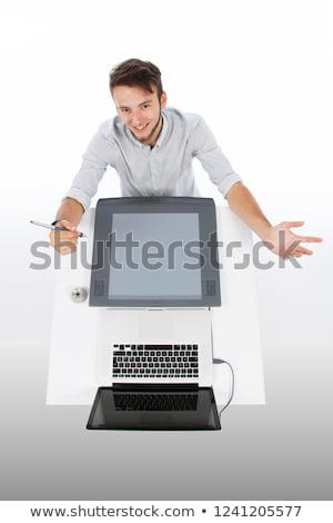 casual · empresario · tableta · escritorio · oficina · empresa - foto stock © deandrobot
