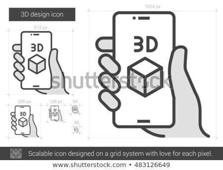 smartphone with three d box line icon stock photo © rastudio