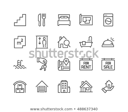 house with garage line icon stock photo © rastudio