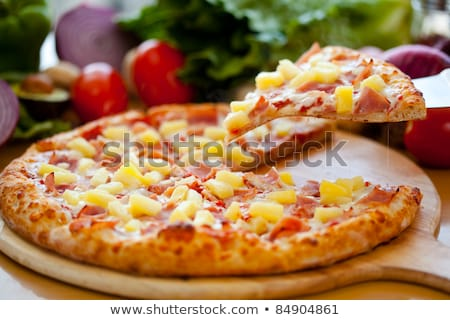 pizza · Hawaii · adag · friss · sült · étel - stock fotó © digifoodstock