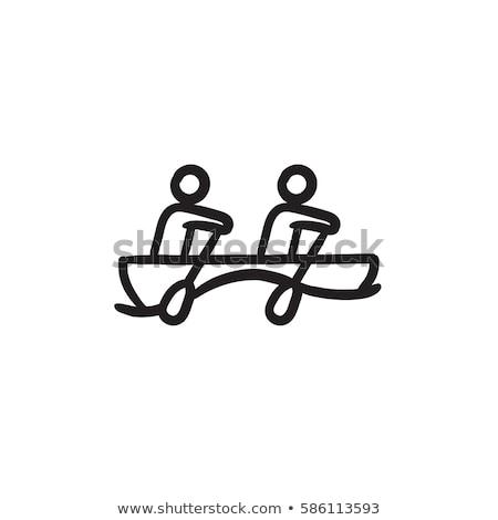homem · caiaque · esboço · ícone · teia · móvel - foto stock © rastudio