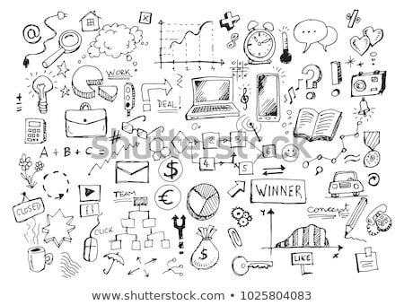 set of hand drawing business doodle on white background stock photo © vanzyst
