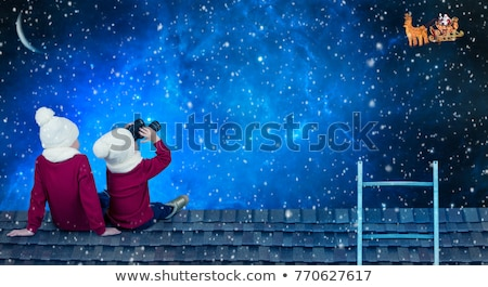 children are waiting santa claus on the roof stock photo © adrenalina