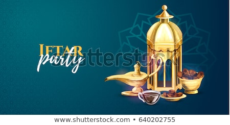 iftar party invitation card design with hanging lamps Stock photo © SArts