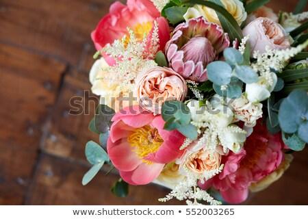 Bride's shoes and a bridal bouquet on the parquet Stock photo © d_duda