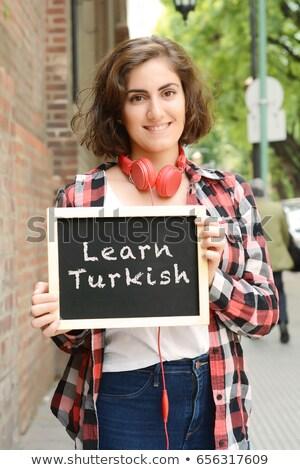 Learn Turkish Handwritten on Chalkboard. Stock photo © tashatuvango