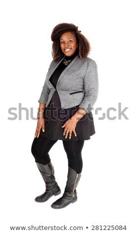 Egészalakos kép mosolyog fiatal nő ruha pózol Stock fotó © feedough
