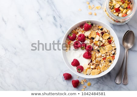 reggeli · gabonafélék · joghurt · kettő · tálak · fehér - stock fotó © digifoodstock