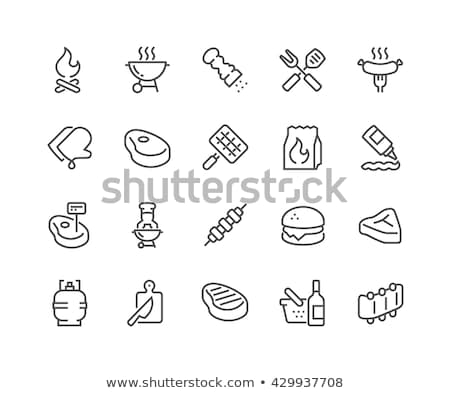 Grilled sausage on fork line icon. Stock photo © RAStudio