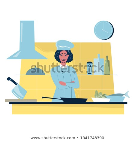 Confident female chief cooker with arms crossed. Stock photo © RAStudio