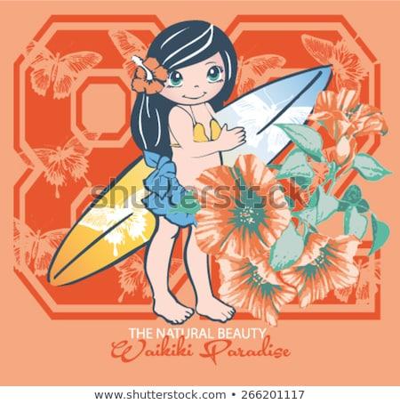 Criança menina boneca bordado quadro ilustração Foto stock © lenm