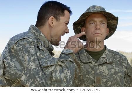 Militar homem gritando assustado capacete Foto stock © keeweeboy