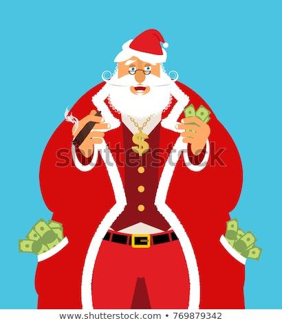 Ricos papá noel dinero efectivo ganancias Navidad Foto stock © popaukropa
