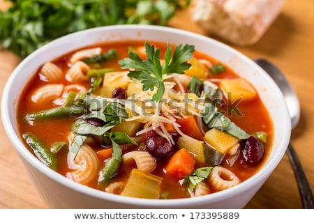 Spaghetti and soup on the table Stock photo © bluering