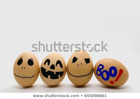 Kahverengi yumurta korkutucu yüz düşen Stok fotoğraf © nito