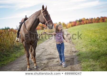 Children walking horses in park Stock photo © IS2