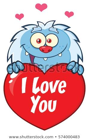 Mutlu küçük karikatür maskot karakter valentine sevmek Stok fotoğraf © hittoon