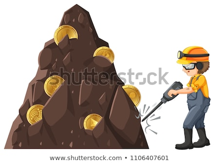 Homem mineração terreno ilustração negócio dinheiro Foto stock © bluering