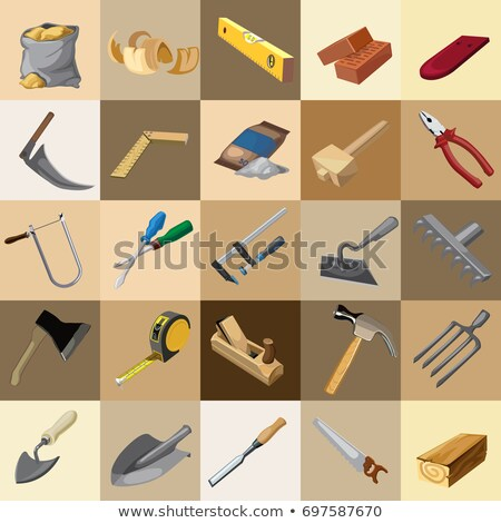 Group tool set of gardener, builder and carpenter. Sketch for stickers, card, seamless texture for w Stock photo © Lady-Luck