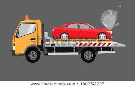 Realistyczny ciężarówka wektora biały pojazd Zdjęcia stock © YuriSchmidt