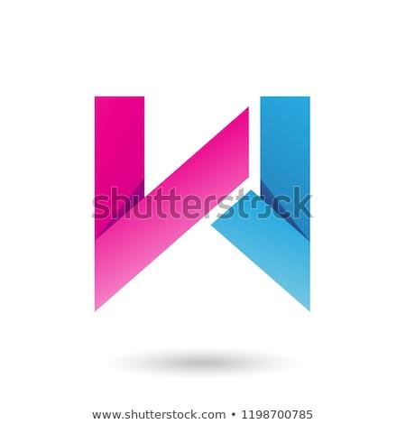 Mavi katlanmış kâğıt w harfi vektör örnek Stok fotoğraf © cidepix