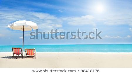 şezlong · kum · deniz · görmek · gün · batımı · yaz - stok fotoğraf © suriyaphoto