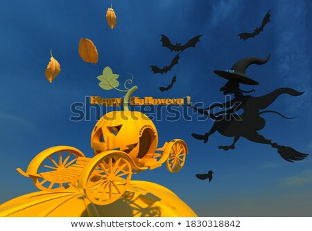 Flying bat, leaves and scary pumpkins on an orange background with copy space. Paper handcraft compo Stock photo © artjazz