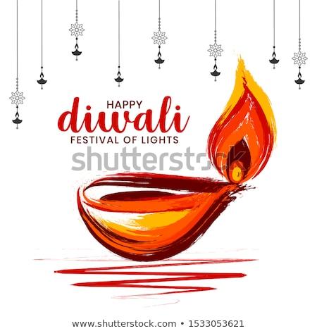 modern happy diwali background with white diya art Stock photo © SArts