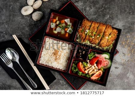 doboz · hagyományos · disznóhús · rizs · tojás · zsemle - stock fotó © fotogal